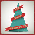 Vintage retro vector grunge Christmas tree Royalty Free Stock Images