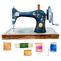 Vintage retro watercolor sewing machine Royalty Free Stock Photo