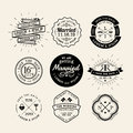 Vintage retro wedding logo frame badge design element vector Royalty Free Stock Images