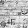 Vintage retro wood and ephemera background collage texture in black and white
