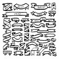 vintage ribbon banners collection with blank space for text vector illustration sketch hand drawn with black lines isolated on