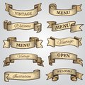 Vintage ribbon banners with engraved shadows vector set Royalty Free Stock Photo