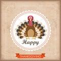 Vintage Ribbon Thanksgiving Foliage Emblem Turkey