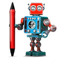 Vintage Robot with red pen. . Contains clipping path Royalty Free Stock Photo