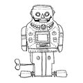 Vintage robot toy SPARKY ROBOT hand drawn line art cute Royalty Free Stock Photo