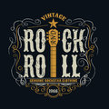 Vintage rock and roll typograpic for t shirt tee designe poster flyer illustration Stock Photography