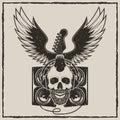 Vintage rock star vector grunge illustration Royalty Free Stock Photo