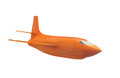 Vintage rocket plane isolated orange experimental engine powered aircraft on white Royalty Free Stock Photo