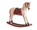 Vintage rocking horse isolated on white antique toy Royalty Free Stock Photos