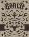 Vintage rodeo poster longhorn skull belt buckle text and grunge effect are removable eps available Royalty Free Stock Photography
