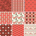 Vintage romantic seamless pattern set with roses and hearts Royalty Free Stock Image