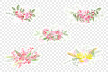 Vintage romantic vector of fashionable bouquets of flowers.