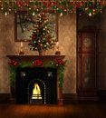 Vintage room with Christmas decorations Royalty Free Stock Photo