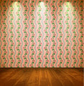 Vintage room with floral wallpaper Stock Image
