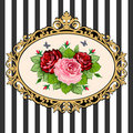 Vintage rose bouquet frame Stock Photo