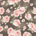 Vintage roses print peach on brown background seamless background Stock Photos