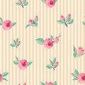 Vintage roses seamless pattern striped backgroundseamless Stock Photography