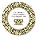 Vintage Round Retro Frame 407 Antique Green Polygon Flower Royalty Free Stock Photo