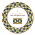 Vintage Round Retro Frame 362 Exotic Green Spiral Cross Flower Royalty Free Stock Photo