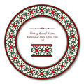 Vintage Round Retro Frame 132 Red Flower Spiral Green Vine Royalty Free Stock Photo