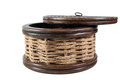 Vintage round wicker case Royalty Free Stock Photos