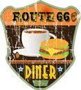 Vintage route diner sign grungy style nostalgic illu Stock Photography