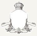 Antiguo real cresta escudo corona y bann