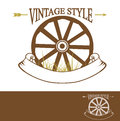 Vintage rural design with old wheel used times new roman font with copyspace for your text Royalty Free Stock Photos