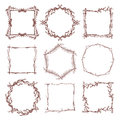 Vintage rustic branch frame borders, hand drawn vector set Royalty Free Stock Photo