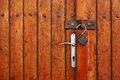 Vintage Rustic Wooden Double Door Or Gate With Opened Padlock Royalty Free Stock Photo