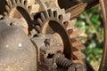 Vintage Rusty Farm Equipment Gears Stock Photos