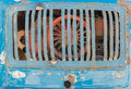 Vintage rusty grill of blue truck car and broken Stock Image