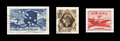 Vintage s air mail stamps on black scanned us british isolated Stock Image