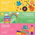 Vintage 1960s hippie retro header banner set