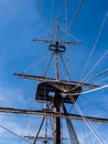 Vintage sailing ship mast and rigging of a historic viewed from below against a blue sky santissima trinidad alicante spain Royalty Free Stock Photos
