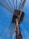 Vintage sailing ship mast and rigging of a historic viewed from below against a blue sky santissima trinidad alicante spain Stock Photos