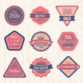 Vintage sale labels and badges set on cardboard for best price high quality exclusive deal vector illustration Stock Images