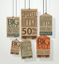 Vintage sale tags design illustration of Stock Photo