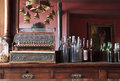 Vintage saloon cash register in traditional wild west or bar Royalty Free Stock Photography