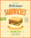 Vintage sandwiches poster vector illustration Stock Photography