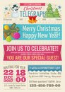 Vintage santa claus newspaper with merry christmas greeting text and graphic elements vector template