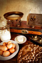 Vintage scales and ingredients, detail Royalty Free Stock Photo