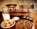 Vintage scales and ingredients, landscape Royalty Free Stock Photo