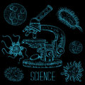 Vintage science laboratory set with microscope and microbes and viruses. Vector isolated hand drawn illustration Royalty Free Stock Photo