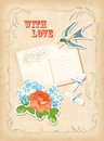 Vintage scrapbook element retro card love design scrap postcard with elements flying swallow bird antique flowers rose forget me Stock Images