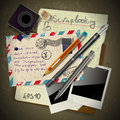 Vintage scrapbook with old style postage design elements Stock Photo