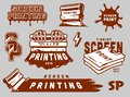 Vintage screen printing elements set
