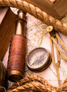 Vintage sea adventure concept medieval map telescope and compass Stock Photo