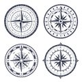 Vintage sea compass. Retro east and west, north and south arrows. Navigation compasses with rose of wind isolated vector