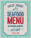 Vintage seafood poster vector illustration Stock Photography